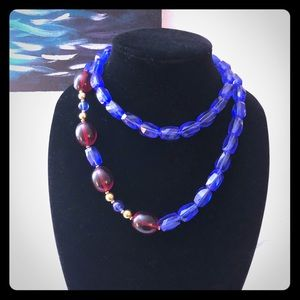 Monet Vintage Blue and Red Necklace